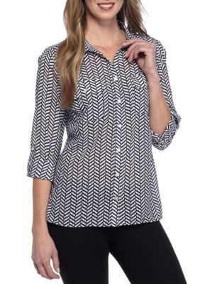 Kim Rogers Women's Y Neck Utility Herringbone Shirt - Blackscale - Xl