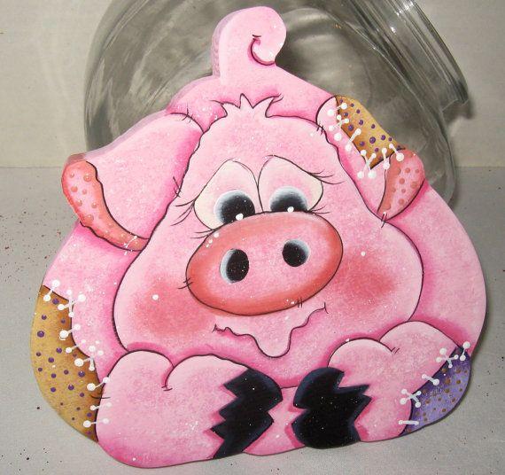 Kitchen Decor Wood Pig Decor Whimsy Pig Kitchen By Jusbcuz On Etsy