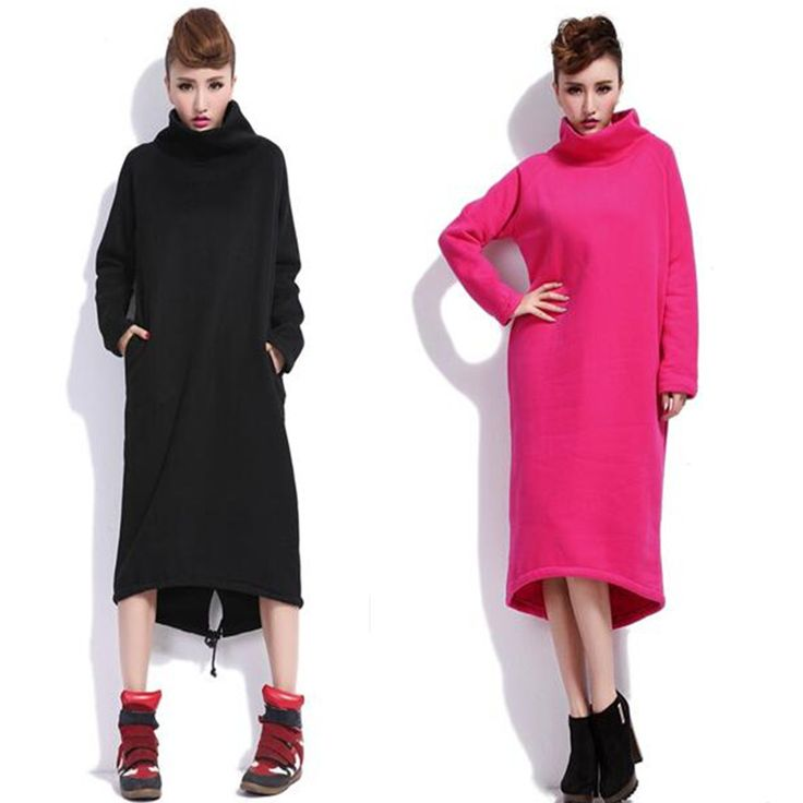 Cheap sweater dress, Buy Quality dress plus directly from China plus dress Suppliers: 2017 Autumn Women Loose hoodie Dresses thickening Turtleneck warm outwear dress Vestidos plus size L-6XL sweater dress black red