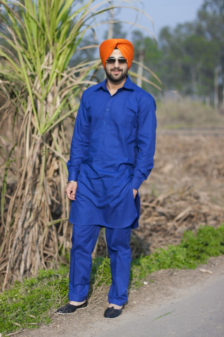 Sikh Model Sikh Men Fashion Style Urban Sardar Sikh Fashion Surjit Singh Blue Kurta-Pajama Orange Turban Urban Sardar.
