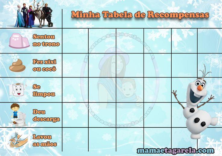 tabela de recompensas treinamento de desfralde mamae tagarela frozen