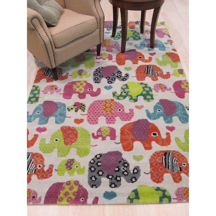 EORC Hand-tufted Transitional Kid's Kid's Elephant Rug