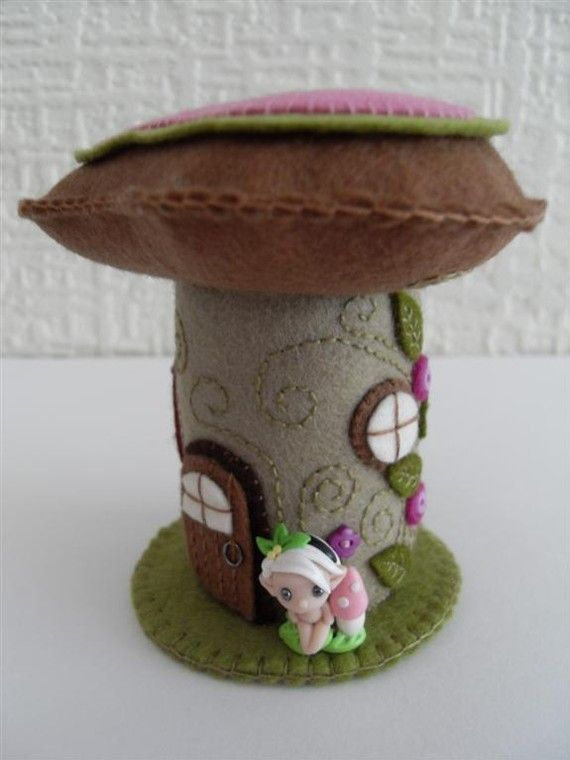 Felt Fairy House Pincushion by ThatPincushionPlace on Etsy