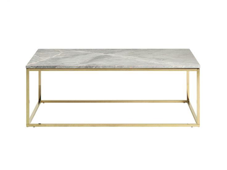 CARRIE Soffbord 120 Mässing/Grå - Soffbord i marmor och mässing, finns i flera färger!