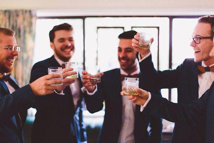 #groomsmen #blue #suit #wooden #bowtie