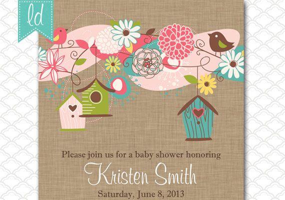 Bird Houses Invitation on Linen Kraft Paper by LeesaDykstraDesigns, $15.00
