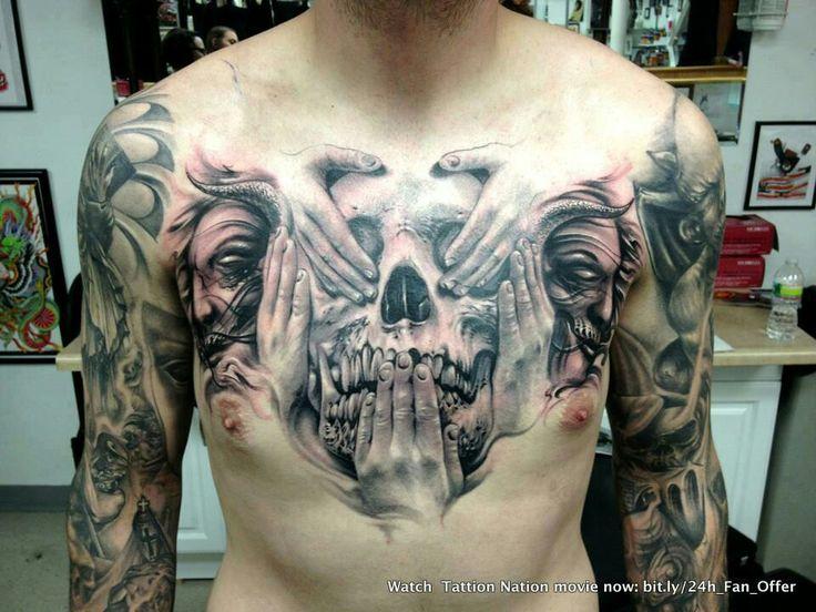 Love this see no evil, hear no evil & speak no evil skull chest tattoo