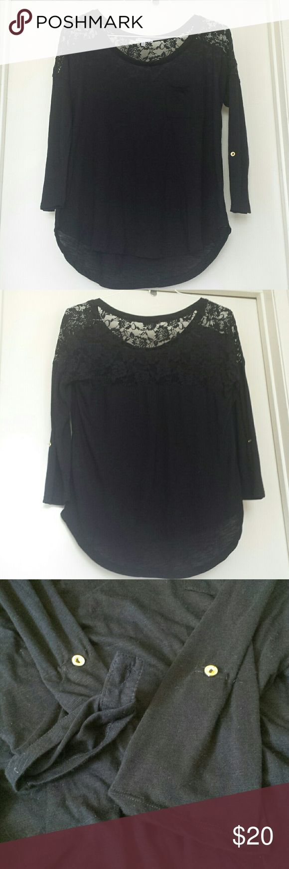 Black Lace Top Black Lace Top with gold buttons to fold sleeves into 3/4 sleeves and button them in place. Super cute top that can be dressed up or down for a casual look. Charlotte Russe Tops