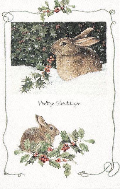 "Prettige Kerstdazen: 'Merry Christmas' in Dutch | ""Christmas Greetings from Gerda"" by Bea27 & Trix27 | Beautiful 'Marjolein Bastin' card, a favourite Dutch artist both Gerda & I like a lot. Thank you!!! | 9 December 2007"