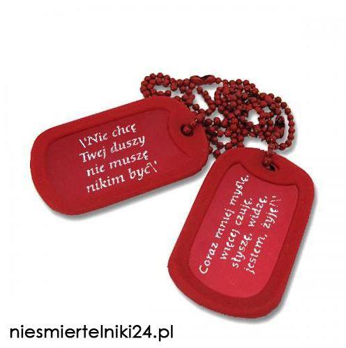 Nieśmiertelniki to interesująca propozycja dla osób, które chce wyrazić siebie. Co myślicie o kolorze czerwonym? http://niesmiertelniki24.pl/blaszane_kolorowe,c,1229 _________ Grawerowanie gratis!