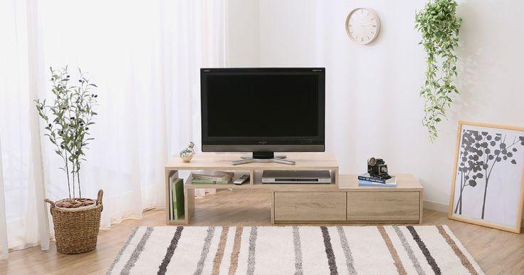 お好みで選べる「デザイン&カラー」北欧テイスト伸縮テレビボード!約90cmの伸縮可能で引っ越しや模様替えにも便利。