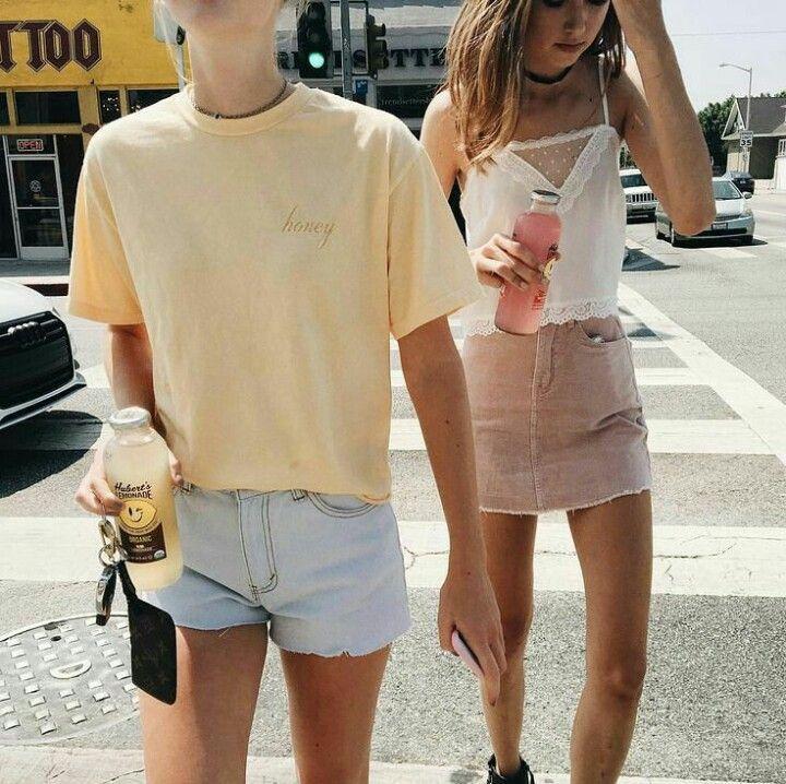 summer outfits. yellow t-shirt pink skirt shorts