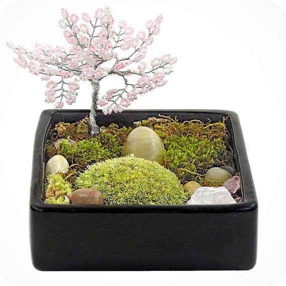 ZEN TREE GARDEN - zen garden, air plant terrarium, feng shui terrarium, buddha, terrarium, terranium, buddha, moss terrariums, gifts for him on Etsy, $55.00