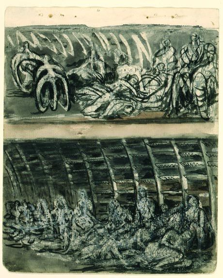 """Henry Moore,,, """"Shelter sketchbook""""...In September 1940 Moore began work on his shelter drawings, scenes of Londoners sheltering from the Blitz in the London Underground stations."""