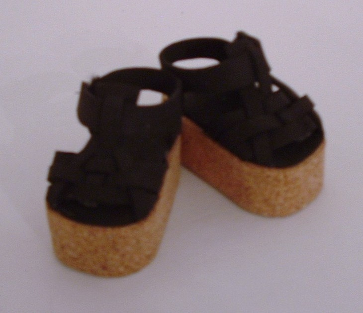 Black Woven Platform Sandals. $10.00, via Etsy.
