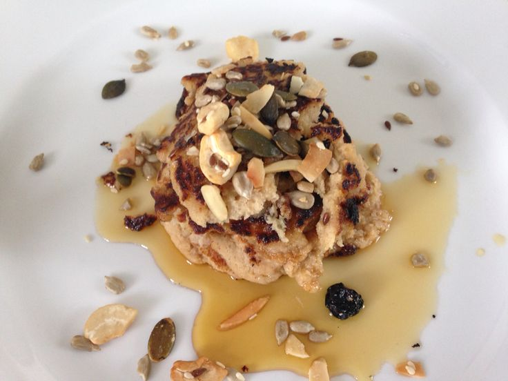 Banana pancakes with maple syrup n nuts