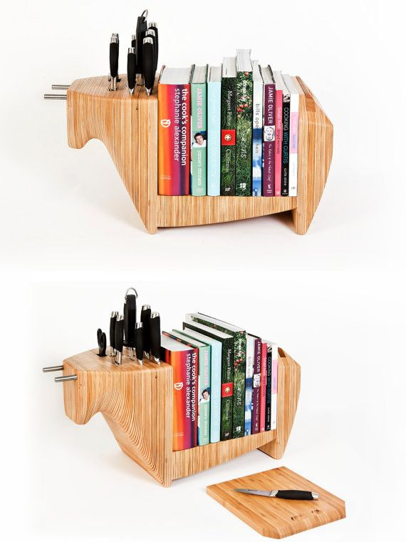 Display your cookbooks on this practical knife block. | 27 Insanely Clever Ways To Display Your Books