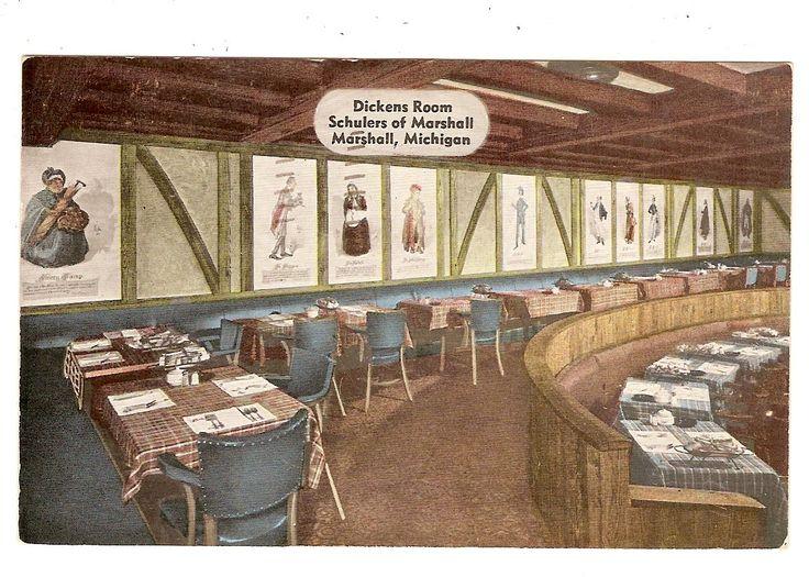 Schuler's Restaurant postcard featuring Dickens Room.
