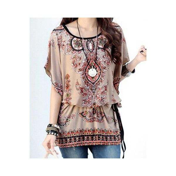 Ethnic Style Scoop Neck Batwing Sleeves Print Loose T Shirt For Women (200 ZAR) ❤ liked on Polyvore featuring tops, t-shirts, as the picture, print tee, loose t shirt, brown tee, scoop neck top and scoopneck tee