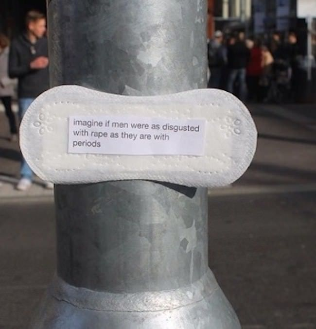 Using a rather unique medium, Elonë, a woman from Karlsruhe, Germany, is posting feminist phrases on maxi pads and posting them around the city. When she shared her first project idea on Tumblr, the photo she posted was shared over 100,000 times in just two days. Her messages include issues on violence, inequality, street harassment, and more. Women all over the world have written to Elonë hoping to conduct the same art projects around their own cities.