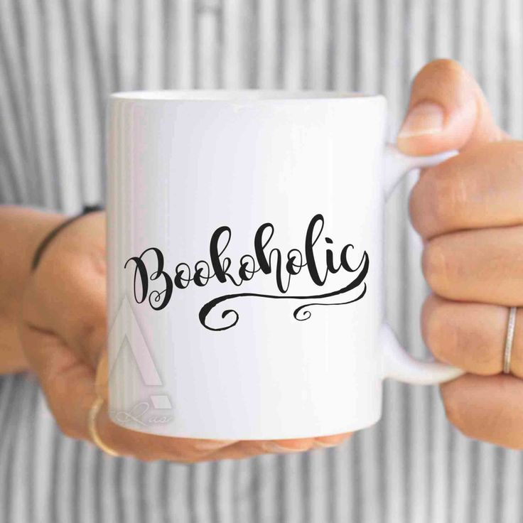 """Gifts for readers, """"Bookoholic"""" funny coffee mug, reader gifts, literary mug, book gifts, book lover mug, book themed, book lover art MU183 by artRuss on Etsy"""