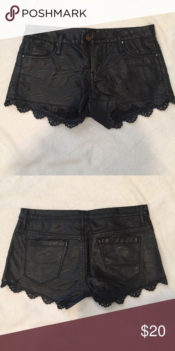 Black leather shorts These are black leather shorts with a laced look of design on the stitching. The laced design is still leather. They are low rise and lay right on hip bones Blank NYC  Shorts