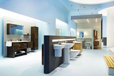 German based blue furnished washroom with designer sanitary products
