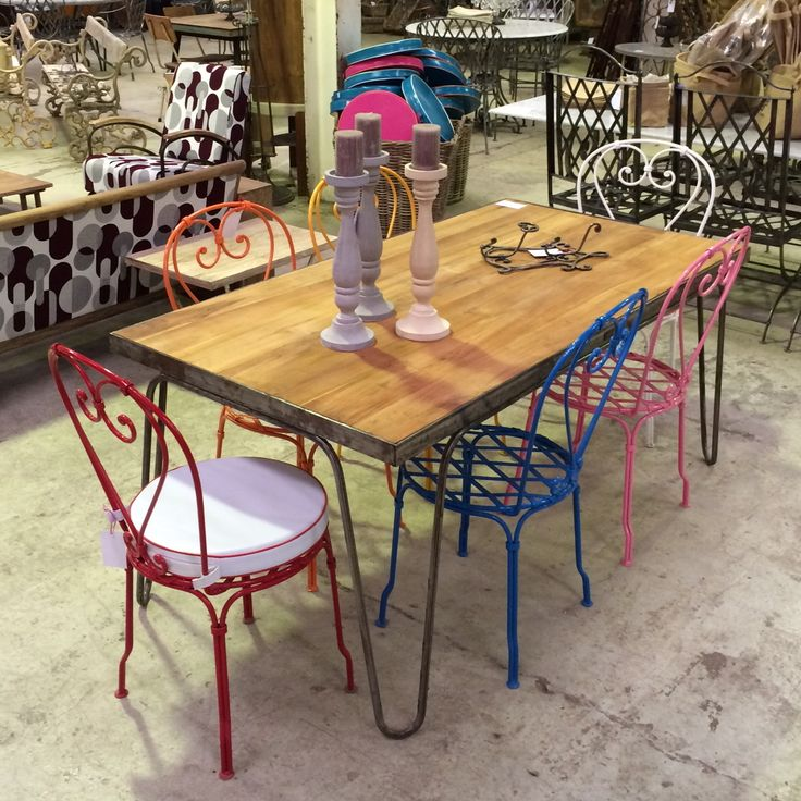 Industrial Style Timber Top Table with Colour Powder Coated Bistro Chairs. www.leforge.com.au