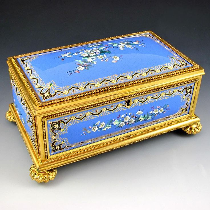 """Superb 8"""" Antique French Gilt Bronze Jewelry Casket Box, Raised Enameled Jewels / Kiln Fired Enamel on Copper Plaques"""