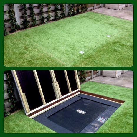 Trampoline met kunstgras, speciaal voor kleine tuinen. De ideale oplossing!