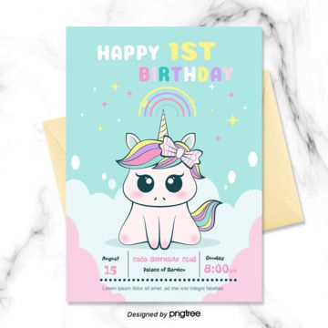 Birthday Png Vector Psd And Clipart With Transparent Background For Free Download Pngtree Unicorn Invitations Unicorn Birthday Cards Unicorn Birthday Invitations