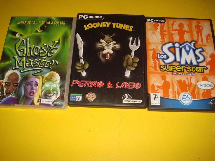 Videojuego PC -tres juegos -GHOST MASTER-LOONEY TUNES PERRO LOBO-LOS SIMS