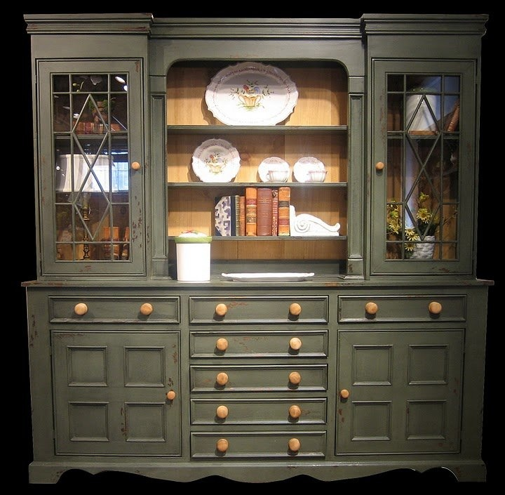 Antique Kitchen Hutch And Buffet: Large Fancy Country Sideboard & Hutch