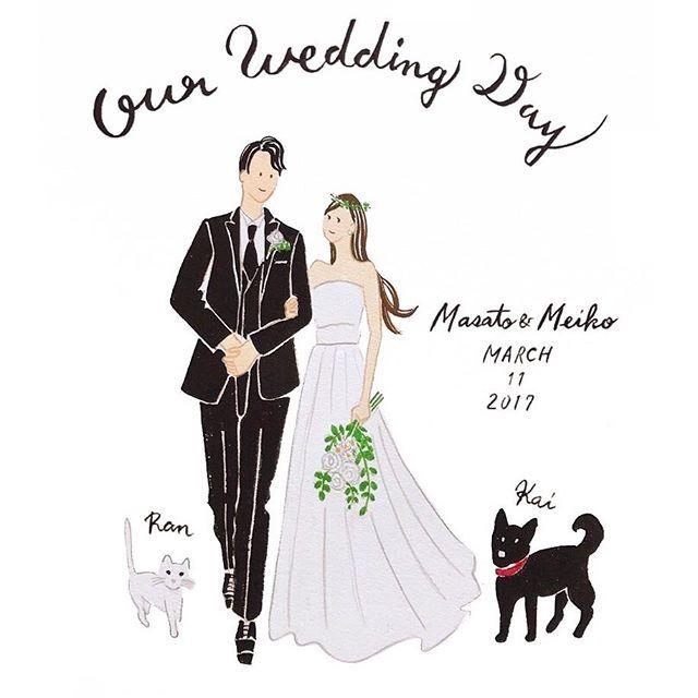 Our Wedding Day ネコのRanちゃんと イヌのKaiちゃんをお描きしました。 おめでとうございます ※再アップすみません 過去の作品は #cuicui_illustboard でご覧いただけます #cuicui_wedding #welcomeboard #welcomespace #illustration#illustrator #bridal #wedding #プレ花嫁#花嫁#ウェルカムボード #ウェルカムスペース #イラスト #イラストレーション#新郎新婦#結婚式#結婚準備 #結婚式場 #ウェディングドレス #instagood #instawedding #席次 #招待状 #invitationcard #invitation #flower