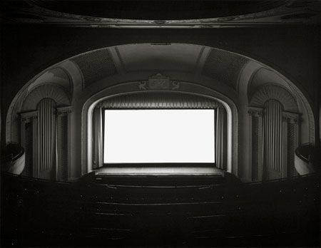Hiroshi Sugimoto - Theatres. Long exposures render the fiction on screen as pure white, inviting the viewer to think about the medium of photography and create their own fiction
