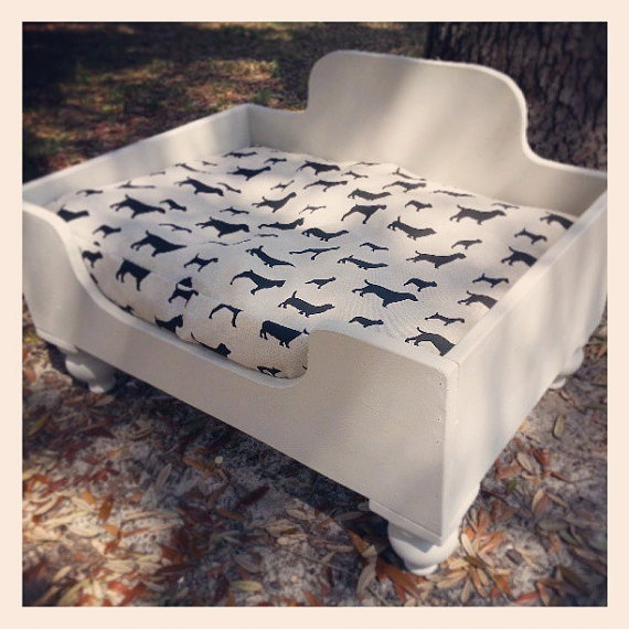 Attractive Items Similar To Dreamy Cream Shabby Chic French Farmhouse Style Wooden Dog  Bed Small Medium Pet Dog Ornate Decorative Wooden Legs Doggie Print  Labrador Pug ...