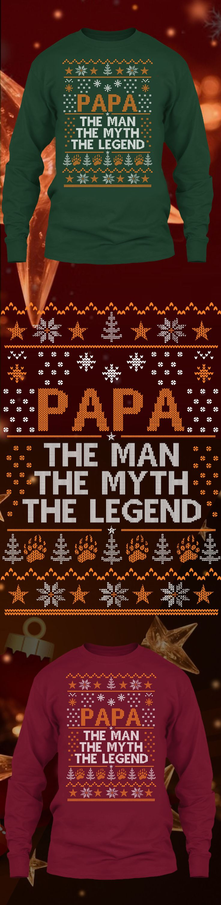 Papa The Man Christmas Sweater - Get this limited edition ugly Christmas Sweater just in time for the holidays! Only 2 days left for FREE SHIPPING, click to buy now!