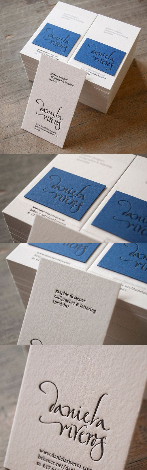 Elegant Hand Drawn Typography On A Layered Letterpress Business Card