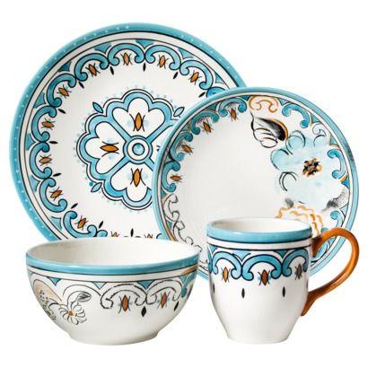 pretty blue and gold pattern. Threshold™ 16 Piece Bridgeport Gardens Dinnerware Set #targetawesomeshop