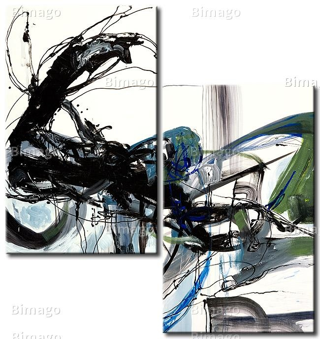 Quadro Furia nera - bimago.it - quadri astratti // Abstract art on canvas, painting with black, green and blue splatters