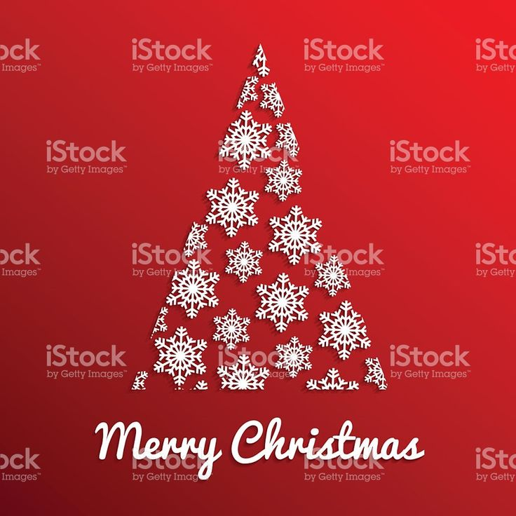 Xmas tree on red gradient background with snow crystals royalty-free stock vector art