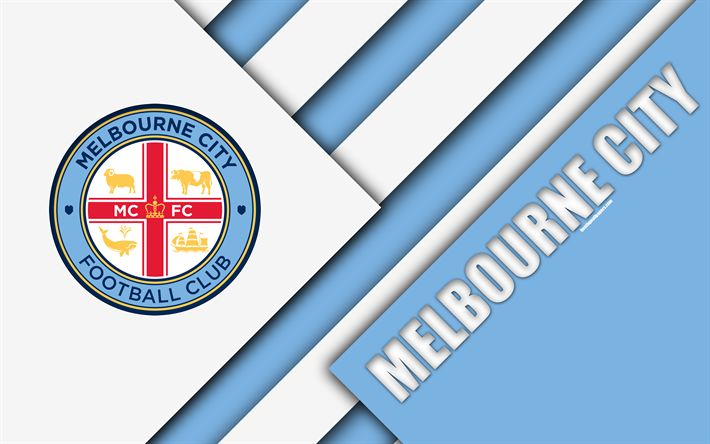 Download wallpapers Melbourne City FC, 4k, Australian Football Club, material design, logo, white blue abstraction, A-League, Melbourne, Australia, emblem, football
