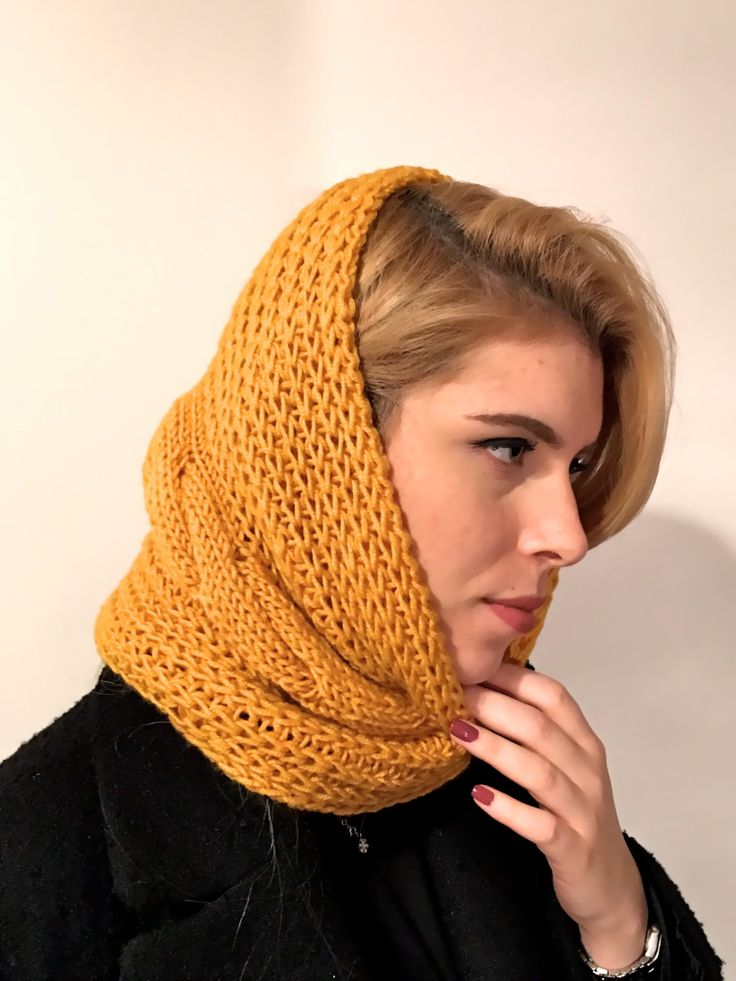 Knit Neck Warmer, Knit Snood, Braided Snood, Head Warmer, Ear Warmer, Braided, Winter Neck Warmer, Hand Knit Funnel, Chunky Snood by Chedeliko on Etsy