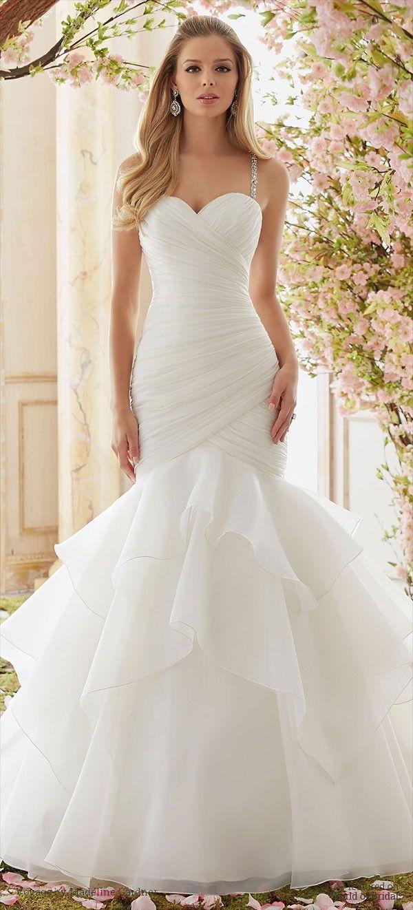 Crystal Beaded Straps on Organza Wedding Dress
