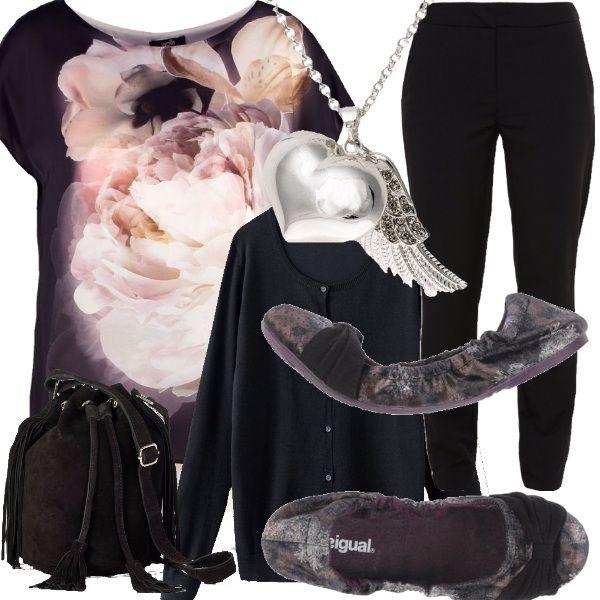 Sei alta e non puoi o non vuoi indossare i tacchi? Potresti acquistare queste ballerine desigual ad un prezzo davvero stracciato. Hanno la fascia in finto camoscio, per questo abbiniamo la Comoda borsa a sacchetto. Finiamo l'outfit con una t-shirt con stampa floreale abbinata alle ballerine, il cardigan nero, i pantaloni neri e il ciondolo a cuore argentato.