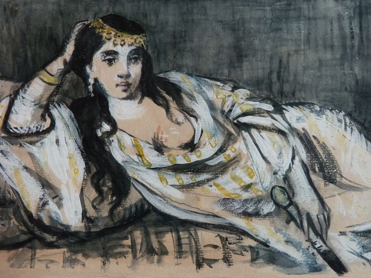 MANET Edouard - Odalisque (drawing, dessin, disegno-Louvre RF6929) - Detail 01