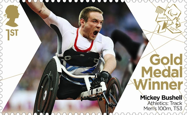 Paralympics Gold Medal Winner stamp - Athletics: Track Men's 100m, T53, Mickey Bushell.