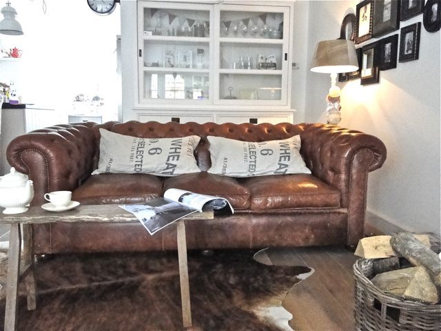 Chesterfield sofa - seed bag pillows
