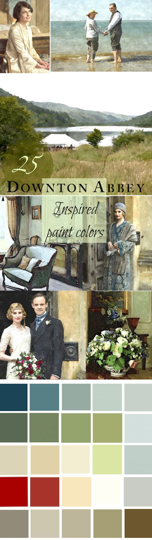 A 25-Color Whole House Paint Palette | you can mix and match the colors or just find inspiration to create a color scheme for your home based on scenes from Downton Abbey. A color scheme can come from anywhere! All colors from Benjamin Moore.