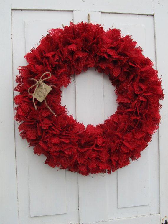 Red Burlap Wreath by handmadebyjennylou on Etsy, $50.00